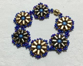 Blue - Gold Floral Beadwork Bracelet