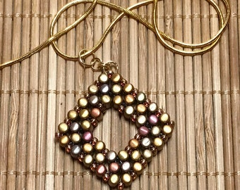 Copper - Gold Colored Beaded Pendant Necklace