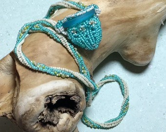 Teal Beadwork Beaded Bag Pendant Necklace
