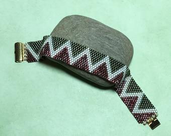Red - Green Peyote Beadwoven Cuff Bracelet