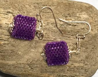 Violet Beaded Cube Dangle Earrings