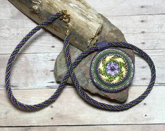 Purple - Green Bezel Button Kumihimo Beadwoven Necklace