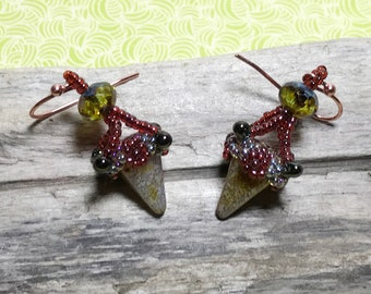 Red - Gold Colored Seed Bead Earrings