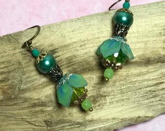 Green Bead Cap Dangle Bohemian Earrings