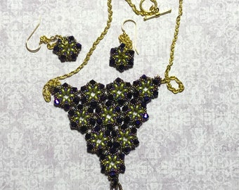 Purple Beaded Necklace Earring Set