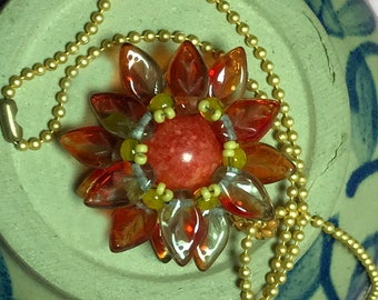 Red - Yellow Beaded Flower Pendant Necklace