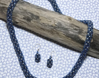 Blue - Gray Bead Woven Necklace Earring Set