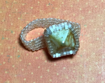 Yellow Beadwoven Pyramid Ring