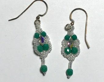 Aqua- Cream Dangle Drop Earrings