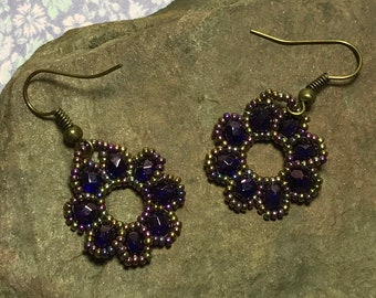 Dark Purple Circle Bead Earrings