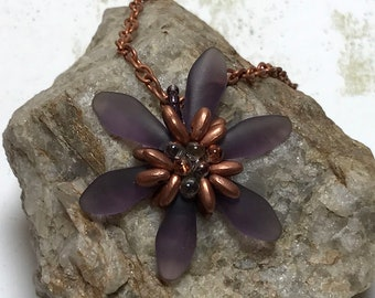 Copper Colored Beaded Flower Pendant Necklace