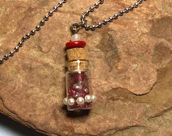 Red Glitter Mini Vial Pendant Necklace