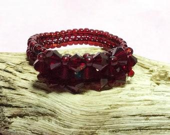 Red Swarovski Crystal Beaded Ring