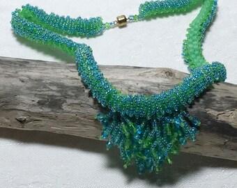 Green - Blue Beadwoven Necklace