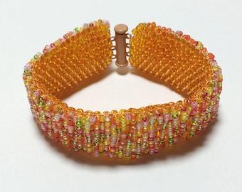 Orange Bead Woven Cuff Bracelet