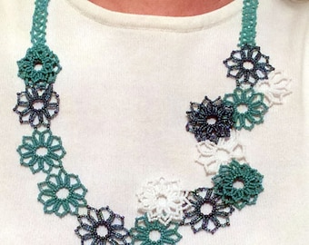 Aqua Beaded Floral Statement Necklace