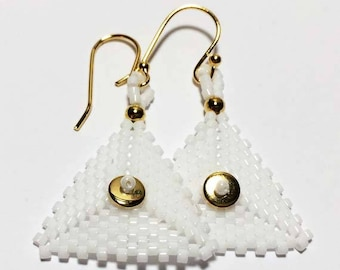 White - Gold Colored Triangle Beaded Earrings