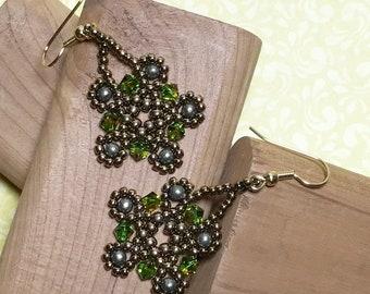Green - Brass Colored Beadwoven Earrings