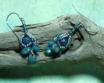 Dark Blue - Silver Colored Beaded Earrings