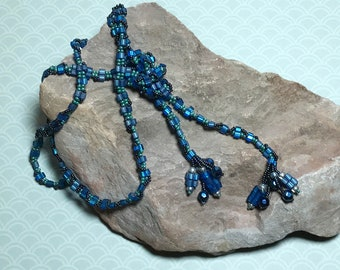 Blue Beaded Lariat Wrap Necklace