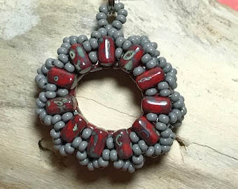 Red - Grey Round Beaded Pendant Necklace