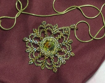 Crystal Beaded Starburst Pendant Necklace