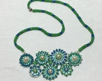 Flower Bead Art Garden Necklace