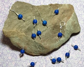 Blue Rounds Beaded Necklace Earring Set