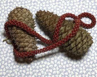 Red Beaded Rope Seed Bead Necklace