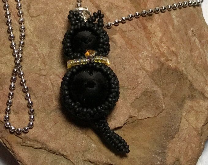 Featured listing image: Black Cat Beaded Pendant Necklace