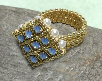 Light Blue - Gold Colored Beadwork Ring