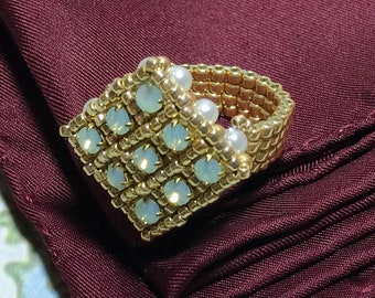 Gold Colored Square Beaded Peyote Ring