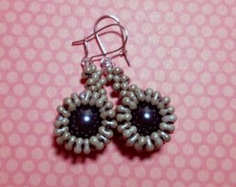 Gray Beaded Starburst Earrings