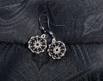 Gray - Silver Colored Beadwoven Hoop Earrings