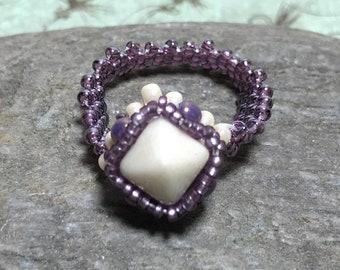 Light Purple Beadwoven Ring