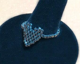 Gray Valentine Heart Beadwork Band Ring