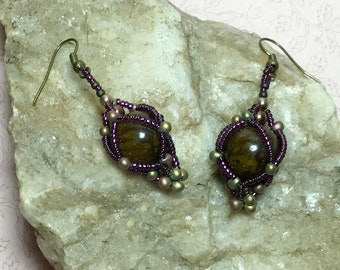 Brown - Purple Beadwork Dangle Earrings