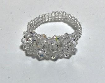 Clear Swarovski Crystal Beaded Ring