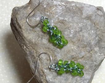Green - Aqua Dangle Drop Earrings