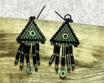 Green Peyote Bead Fringe Earrings