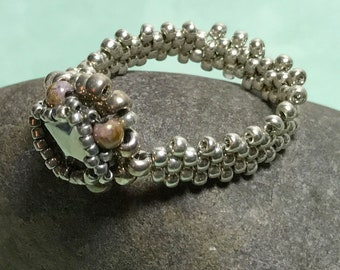 Silver Colored Bead Stitched Ring