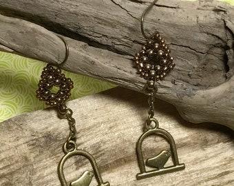 Bird Charm Dangle Bead Earrings