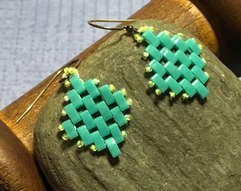 Aqua Bead Weave Dangle Earrings