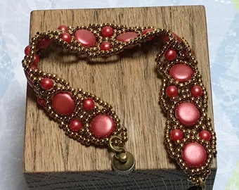 Red - Brass Colored Beadwoven Bracelet