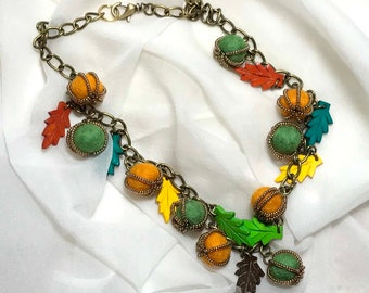 Fall Colors Autumn Beaded Necklace
