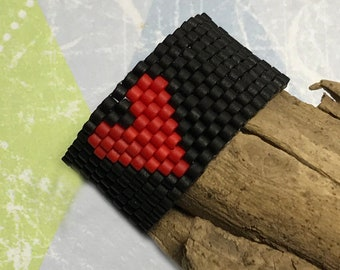 Black - Red Heart Bead Stitched Ring