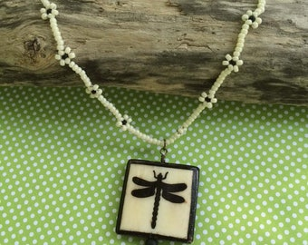 Dragonfly Garden Beaded Pendant Necklace