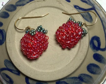 Raspberry Dangle Seed Bead Earrings