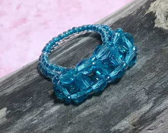 Blue Crystal Bead Woven Ring