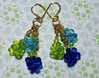 Blue - Green Beaded Dangle Earrings
